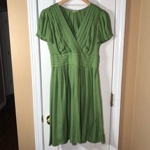 BANANA REPUBLIC Green Silk Dress